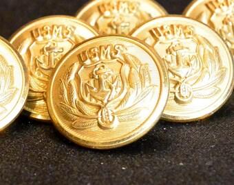United States Merchant Service  Brass Buttons, Waterbury Button Co, USMS, World War II Vintage Brass Military Uniform Buttons, Waterbury, CT