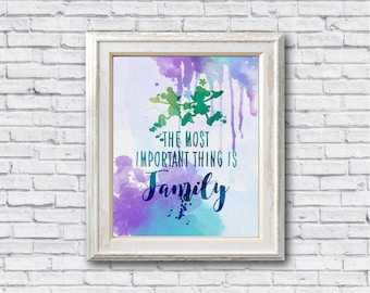 "The most important thing is family Christmas watercolor Murals ,8""x10""  JPEG & PDF file , Inspirational Quote,Digital Prints,Wall Art Prints"