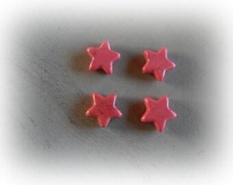 4 beads 14 mm raspberry pink howlite star