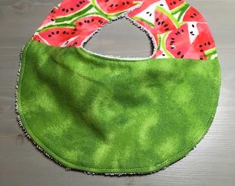 Baby Bib - Watermelon - Flannel/Terry Cloth