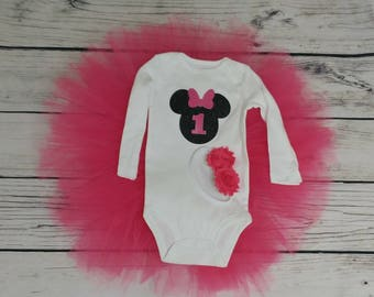 Minnie tutu, minnie mouse outfit, minnie mouse first birthday, first birthday outfit, minnie first birthday outfit, pink tutu, minnie outfit