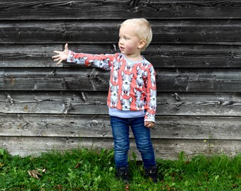 12-18m Dog Print Sweater, Kids Top, Toddler Sweater, Toddler Tee, Organic Cotton Tee, Unisex Kids Top, Baby Sweater, Unisex Baby