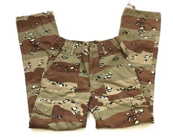 Camo Combat Trousers  Brown Desert Camo Sand Patch Camouflage BottomsLeopard animal print style Size 28 Waist