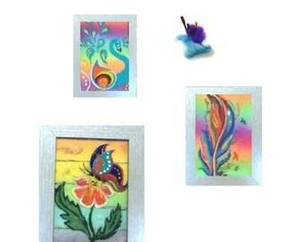 ON SALEcij 20% off Rainbow Wool Paintings, Needle felted Art.