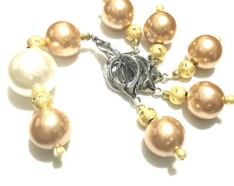 Gold Pearl Jumbo Stitch Markers, Knitters Gift Markers, Large Progress Keepers, Versatile Bag Charms, Unique Style gift jumbo markers