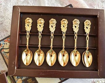 Vintage spoon set for six Teaspoons coffee spoons 6 pieces Scandia Guld Sweden