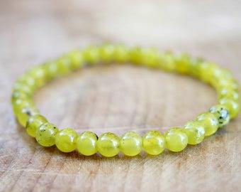 Lemon Jade Gemstone Beaded Bracelet 6mm Bead Size