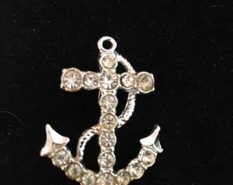 Vintage Diamanté anchor brooch
