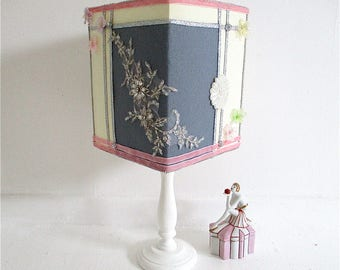 Bespoke,decorated,custom made lampshade,shabby chic lampshade,square lampshade,boudoir shade,fairy tale,princess bedroom,girl's bedroom.lace