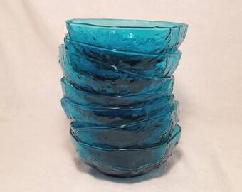 BLUE MORGANTOWN BOWLS Peacock Blue Dessert Finger Wrinkle Crinkle Unique set of 7 Vintage Retro Mid Century