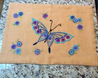 "Vintage Crewel Gold Linen Butterfly Pillow - 24"" x 17"", Vintage Linen, Butterflies, Turquoise Pillow, Purple Pillow, Wall Hanging,"