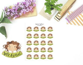 Planner Girl Becca, Weekend - Character Planner Stickers