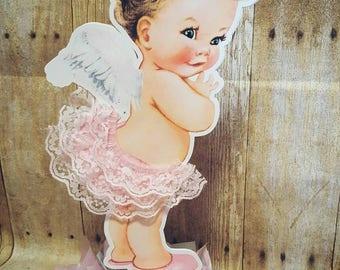 Vintage baby Girl angel | Baby Girl centerpiece | pink ruffle Pants | Baby Girl Baby SHOWER | Baby Angel centerpiece