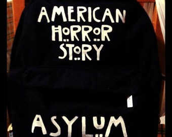 "Black Hand Painted Backpack theme ""American Horror Story: Asylum"""