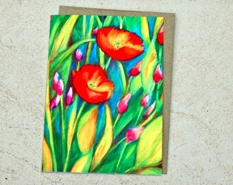 Soft Poppies Greeting Card
