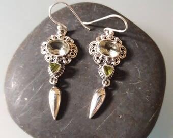 Green Amethyst and Peridot Earrings in Sterling Silver.