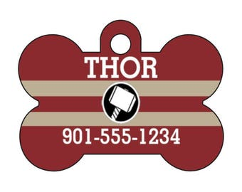 Marvel Avengers Thor Pet Id Dog Tag Personalized w/ Your Pets Name and Number