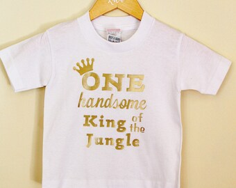 One 1 Handsome King of the Jungle Tee Shirt Onesie 1st first birthday party celebrations cake spash theme event boy girl baby toddler