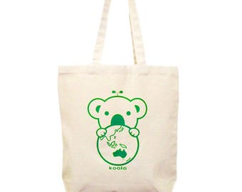 Koala Bag, Koala Tote Bag , Canvas Tote Bag, Tote Bag, Koala shoulder bag, Green Earth Bag, Shopper bag