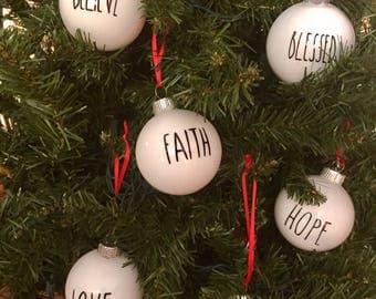 Rustic Farmhouse Christmas ornaments,White farmhouse Christmas ornaments Decor,Rae Dunn farmhouse Christmas Tree Ornaments,Rustic Christmas