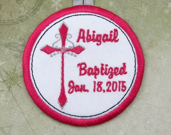 Personalized Baptism Ornament in Pink // Personalized Ornament
