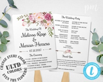 Wedding Program Fan Template, Bohemian Floral, Instant Download, DIY Wedding Program Template, Boho Flowers Wedding Ceremony Program