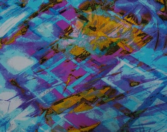 """Blue Cotton Fabric, Dress Material, Abstract Print, Decorative Fabric, 42"""" Inch Quilting Fabric By The Yard ZBC4096B"""