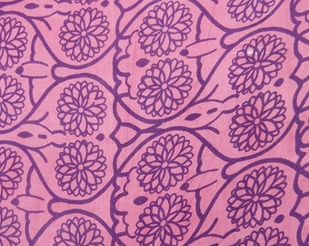 """Pink Indian Cotton Fabric, Purple Floral Print, Dressmaking Fabric, Sewing Crafts, 44"""" Inch Fabric By The Yard ZBC7991C"""