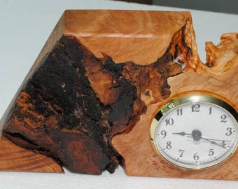 Maple Burl Desk Clock