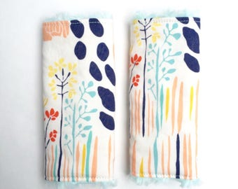Summer Grove Car Seat Strap Covers-Cotton + Choice of Minky Dot or Faux Fur-Aqua Navy Blush Mustard Floral