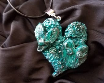 Turquoise Hearts Polymer Clay Necklace