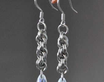 NEW! Crystal Drops: Stainless Steel Glass Teardrop Chainmaille Earrings