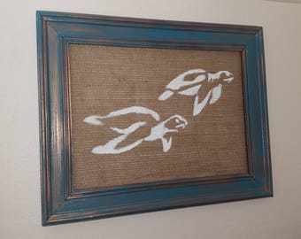 Sea Turtle Painting On Burlap