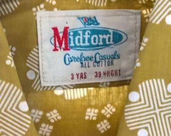 Vintage 80s Midford Brand New mustard pattern boys s/s shirt Size 3