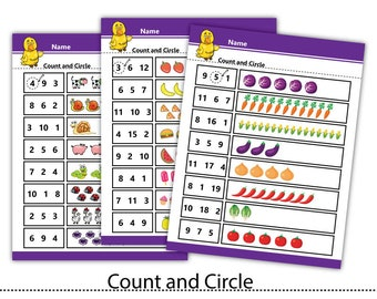 Count Circle Number,Activity match Worksheets,Teacher print,Learning kids print #WS004