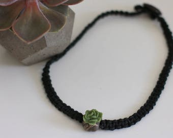 Succulent Necklace, Hemp Choker, Clay Polymer, Fashion Accessory, Black Necklace