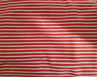Red and White Stripe Cotton Lycra Jersey Knit Fabric