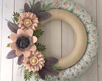 felt flower wreath , felt flowers , felt wreath, yarn wreath, wrapped wreath , double wreath, felt flower decor , aqua wreath , felt decor