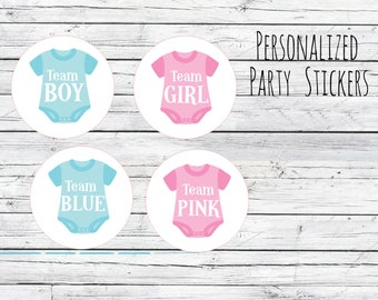 Team Pink Team Blue Gender Reveal Baby Party Stickers, Onesies Team Boy, Team Girl, Baby Shower Voting, Favor Tags, Labels, You Choose Size