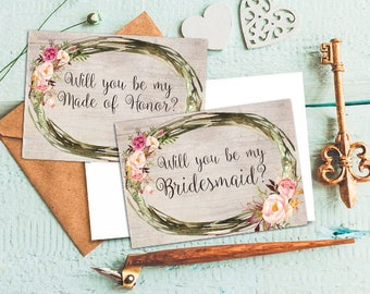 Bridesmaid card Made of Honor card Will you be my bridesmaid card Will you be my Made of Honor card Bridesmaid invite Bridesmaid proposal