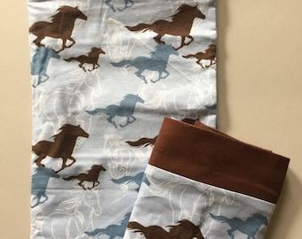 Running Horses Flannel Pillowcase