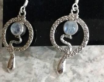 Moonstone Snake Earrings