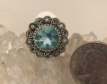 Blue Topaz and Opal Party Ring Size 8
