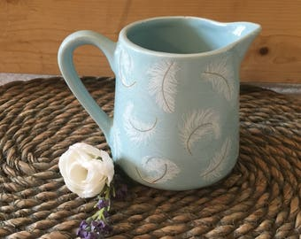 Duck Egg Blue Milk Jug with Feather Pattern