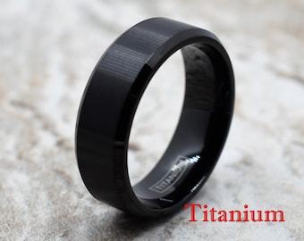 Titanium Ring, Black Titanium Ring, Titanium Band, Men's Titanium Band, Men's Titanium Ring, Men's Black Ring, Black Ring, Men's Ring,