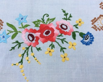 Pretty Vintage Embroidered and Cross-stitched Tablecloth
