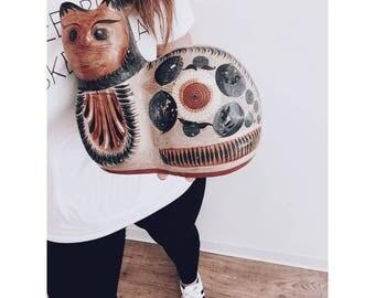 Tonala Pottery Carved Cat / Wooden Cat / Hand Painted Mexican Cat / Hand Painted Pottery / Tonala Cat
