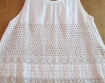 Christening Gown ~ COTTON LAWN EYELET ~ Vintage Handmade Baptism Dress