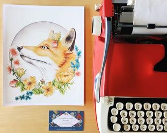 8x10 print - Floral Woodland Fox - Art Print