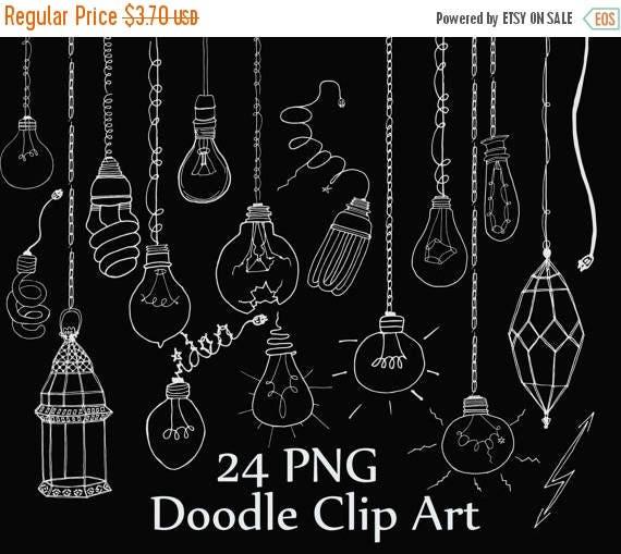 String Lights Doodle : 40%SALE Chalk Doodle Lightbulb clipart: CHALKBOARD